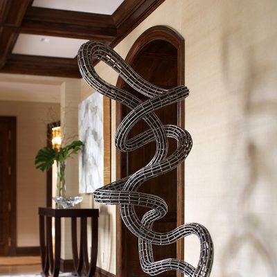 photo of unique metal sculpture in entryway