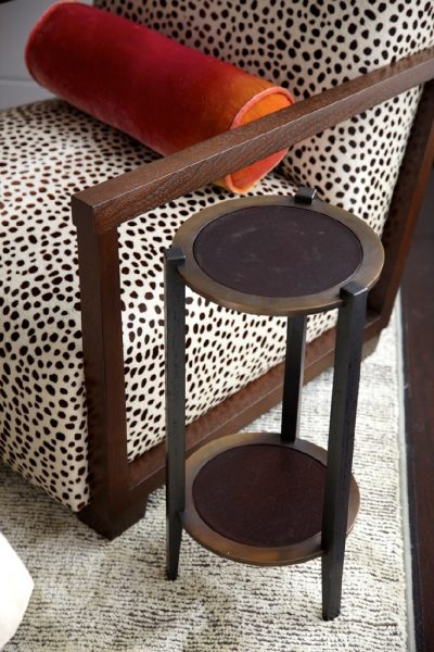 detail photo of spotted animal print upholstered contemporary chair