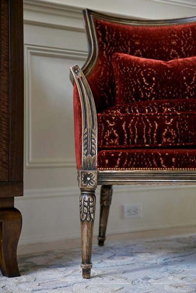 close up of custom upholstered antique chair