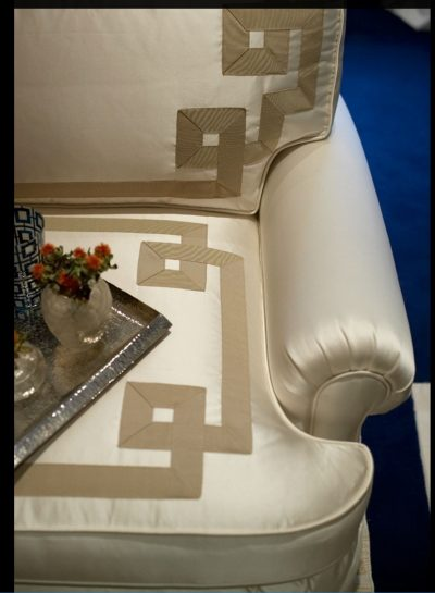detail photo of upholstered arm chair