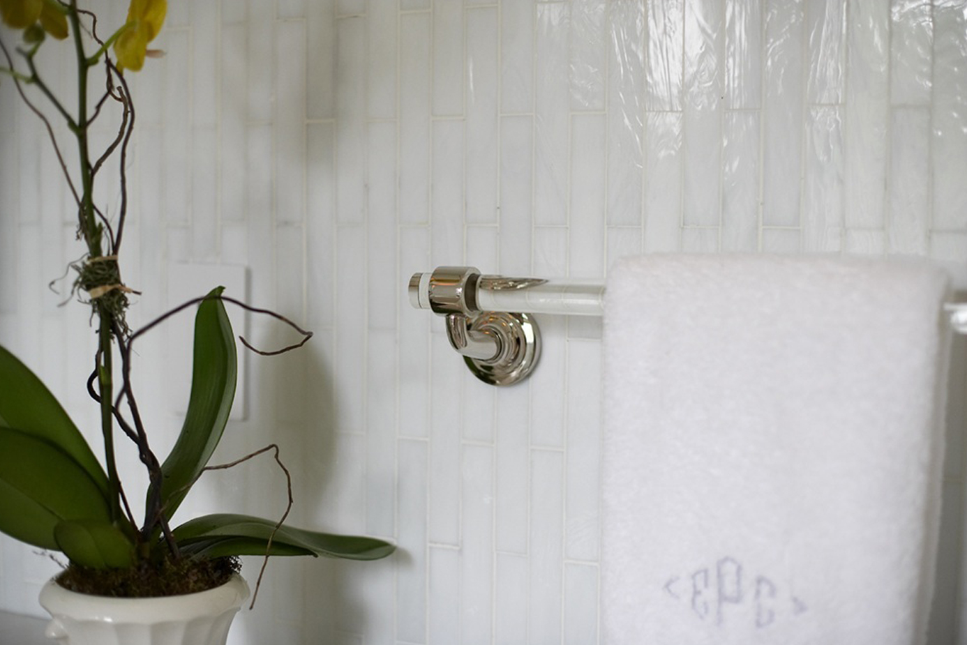 photo of bathroom design detail vertical white tile