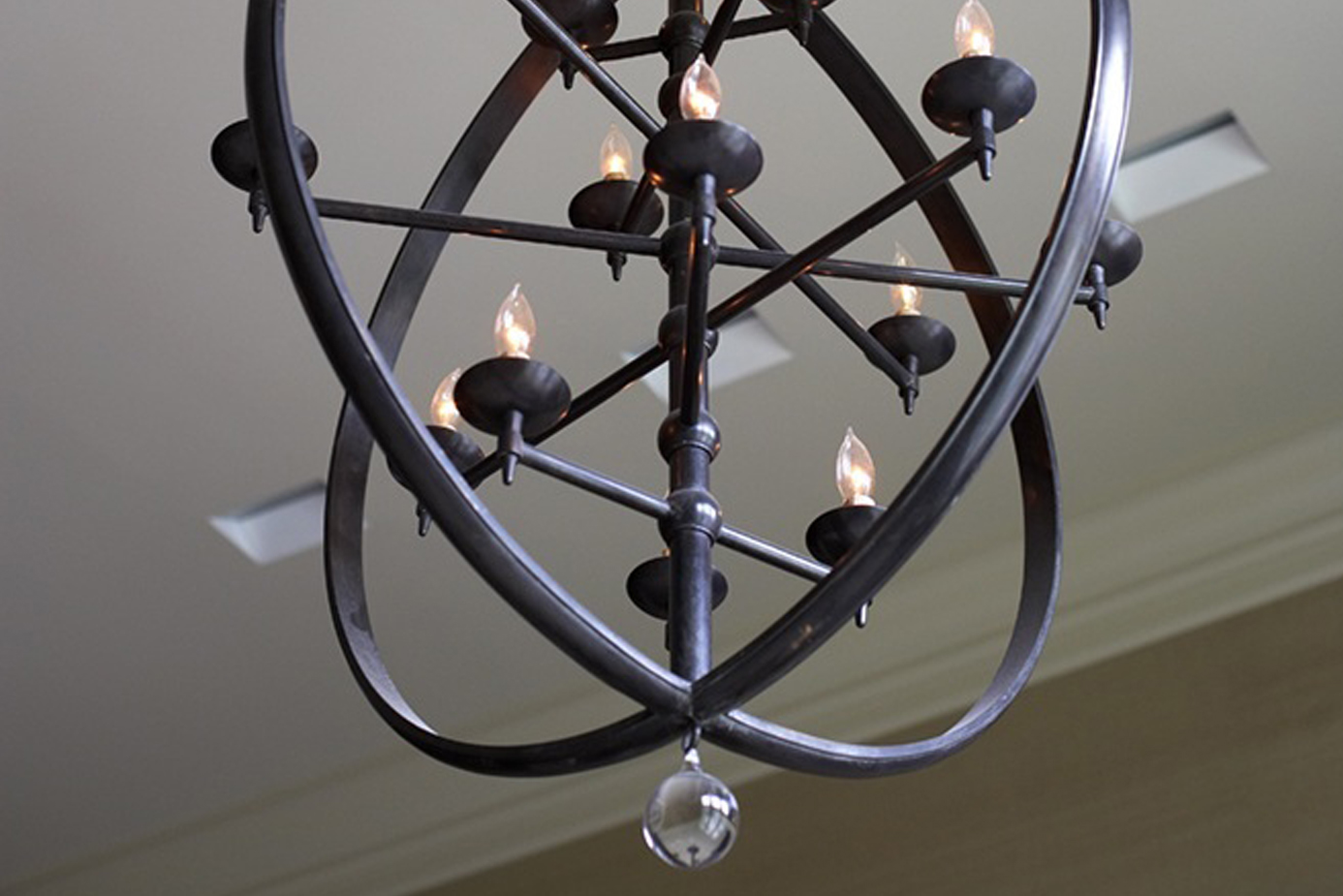 detail photo of unique metal chandelier