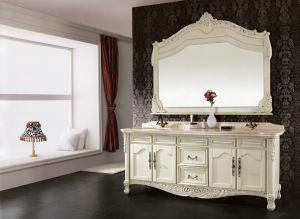 photo of ornate vanity with mirror